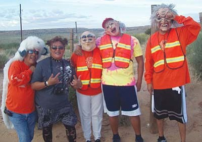 <i>Tyler Tawahongva/NHO</i><br> Hopi Health Promotions staff gets into the spirit of their final summer event, which had a Halloween theme. Staff say that having a theme keeps the events fun.