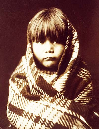 Navaho child. Head-and-shoulders portrait of a Navajo child, facing front. Photograph by Edward Sheriff Curtis, ca. 1904. Courtesy of U.S. Library of Congress.