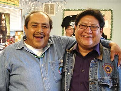 "<i>Courtesy photo</i><br> Jimmie ""Jimbo"" Lucero (left) and Burton Poley of KUYI Hopi Radio."