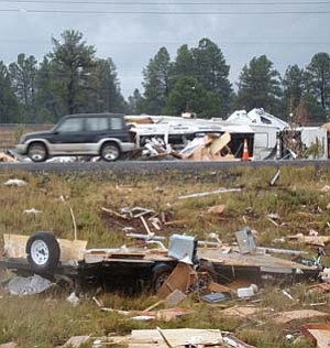 <i>NAZ Today photo</i><br> A series of tornadoes touched down in the Bellemont area, approximately 15 miles west of Flagstaff earlier this morning causing extensive damage to a number of RVs at the Camping World RV Park in Bellemont.