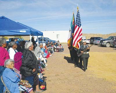<i>Courtesy photo</i><br> Hopi elders watch and pay respect to the young cadets and the flags.