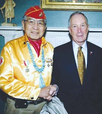 <i>Courtesy photo</i><br> Former Navajo Nation Chairman and Navajo Code Talker Peter MacDonald Sr. stands with New York City Mayor Michael Bloomberg. MacDonald is scheduled to speak about the Navajo Code Talkers and their role in WWII at the Marine Corps League Ball on Saturday, Nov. 6.