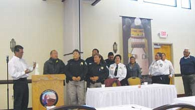 Tyler Tawahongva/NHO<BR>  Hopi Rangers are honored during Upper Moenkopi's annual Law and Order Day, which was held in the Village of Upper Moenkopi on Nov. 10.