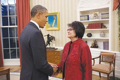 <i>Official White House Photo by Pete Souza</i><br> President Barack Obama meets with Elouise Cobell in the Oval Office, Dec. 8.