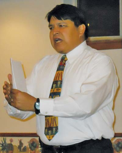 <i>Rosanda Suetopka Thayer/NHO</i><br> Gary LaRance was a primary presenter at the Upper Village of Moencopi. LaRance teamed with former Hopi Chairman Ben Nuvamsa about legal and tribal jurisdictional concerns with proposed Hopi Draft 24A. A formal BIA secretarial election to vote for or against Draft 24 will be held Jan. 27.