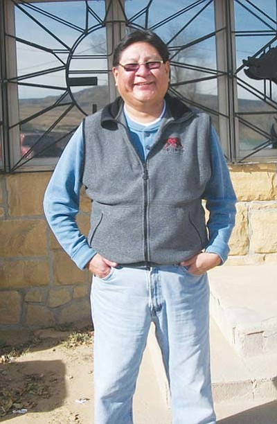 <i>Tyler Tawahongva/NHO</i><br> Bert Poley, manager of Native Voice One based in Albuquerque, N.M. stands in front of his home during a long-awaited vacation. Poley, who distributes Native programmings to radio stations across the country, was one of the first deejays to work at KUYI Hopi radio.