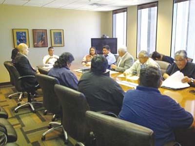 <i>Rosanda Suetopka Thayer/NHO</i><br> Silent Majority members met formally with BIA Western Regional Director Bryan Bowker in Phoenix Dec. 13 to air concerns related to Hopi Constitution Draft 24A.