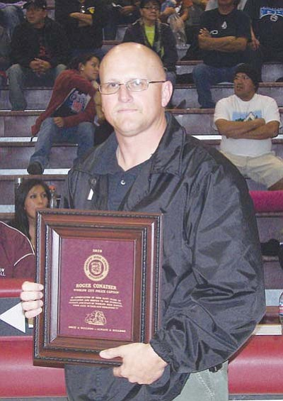 <i>Todd Roth/NHO</i><br> Robert Conatser was honored last Thursday evening during the Winslow Winter Classic Girls Basketball Tournament. Conatser was honored by Winslow High School for his dedication to the school and to the community of Winslow.