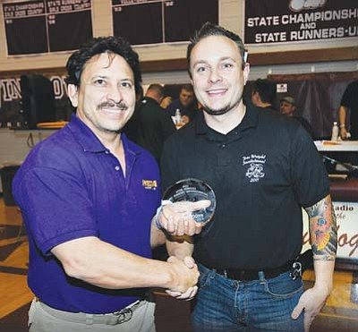 <i>Todd Roth/NHO</i><br> The Coach's Award was presented to Mesa High School coach Bob Williams by WHS Tournament Organizer, Justin Hartman.