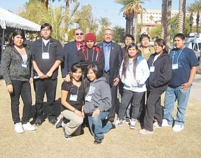 <i>Stan Bindell/NHO</i><br> Hopi Jr/Sr High students pose with Arizona State Rep. Jack Jackson Jr. and Hopi Chairman Leroy Shingoitewa.