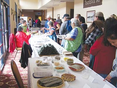 <i>Wells Mahkee Jr./NHO</i><br> Attendees of the inaugural Hopi Agricultural Expo and photo exhibit on Jan. 22 were treated to a feast of Hopi traditional foods following a buffalo dance performance outside the Moenkopi Legacy Inn and Suites.