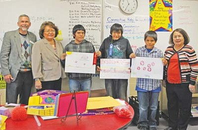 <i>Courtesy photo</i><br> Pictured from left to right are Coconino County Attorney David Rozema, Tonalea School Assistant Principal Lolita Paddock, Diondre Agoodie,  Alonzo John, Richardson Whiterock, and Mrs. Rosie Hemstreet, sixth grade teacher.