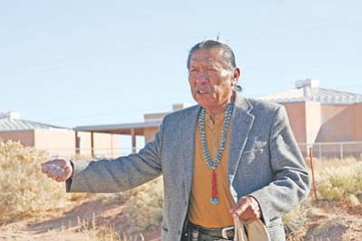 <i>NICA courtesy photo</i><br> James Peshlakai performs a grounds blessing at the site of the new Navajo Institute for Cultural Arts building.