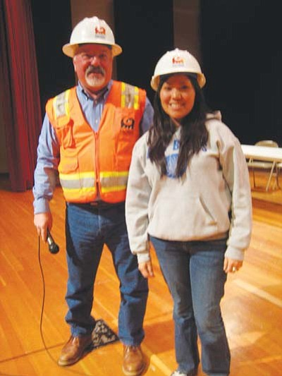 <i>Stan Bindell/NHO</i><br> Forrester Waggoner from Arcadis-U.S. and Hopi High Student Council President Torri Youvella were all smiles as they talked about the construction.