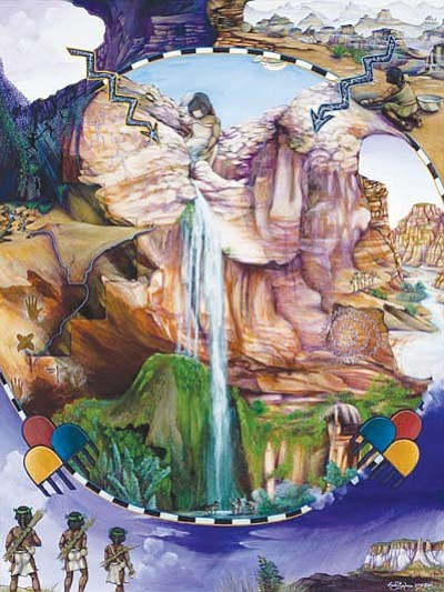 "<i>MNA courtesy photo</i><br> Chimik'yana'kya dey'a (Ribbon Falls), a 48"" x 36"" acrylic on canvas © 2010 Geddy Epaloose."