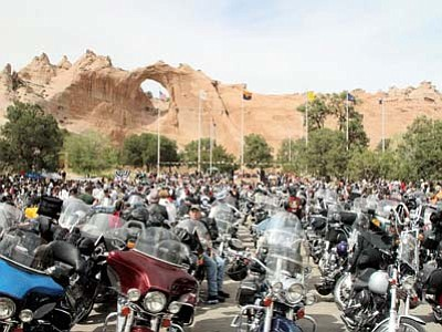 <i>Courtesy photo</i><br> The backdrop of Window Rock can be seen amidst a sea of motorcycles and riders comprising the Navajo Hopi Honor Riders, who regularly travel throughout the Navajo and Hopi reservations to honor military veterans and their families. They will be participating in the Fourth of July parade in the community of Tusayan this year.