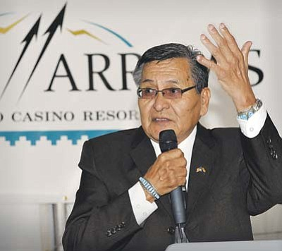 <i>Todd Roth/NHO</i><br> Navajo Nation President Ben Shelly gestures as he addressed visitors at the ground breaking ceremony for the new Twin Arrows Casino and Resort near Leupp last Monday. The $150 million project will start the first phase of construction in April and doors are expected to open on July 1, 2012.