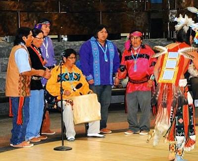 <i>Courtesy photo</i><br> David Jensen, D'Armon Kootswatewa, Honwisiwma (Darold Honwisiwma), Tsu'wisiwma (Arvis Myron), Ned Zeena and Albert Myron Jr. sing during a dance performance in Washington, D.C.