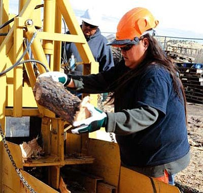 <i>Kate Dorrell, ERI/NAU</i><br> Anjelita Apachito is the safety officer for the Alamo Navajo Project. From this small lumberyard in Socorro, N.M., she and others are carving a wood products niche out of small-diameter trees that few people wanted.
