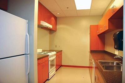 <i>Courtesy photo</i><br> View of the first floor, Healthy Living Center kitchen.