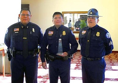 <i>Tyler Tawahongva/NHO</i><br> Hopi Tribal officers were honored during Law and Order Day.