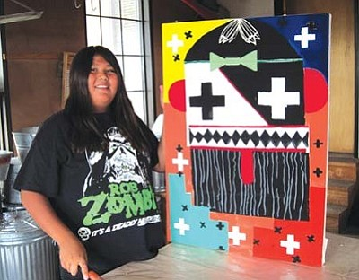 <i>Rosanda Suetopka Thayer/NHO</i><br> Lanceford Quotskuya of Hotevilla, age 14, was one of the most successful students in the Hopitutuqaiki's screen printing class this past year. Quotskuva produced several original works of art that all sold. Quotskuya attended Mary Duwynie's two-week long screen printing class at the Sonwai Studios at Hotevilla. Duwynie is a full-time art teacher at Hopi High School and considered a master instructor.