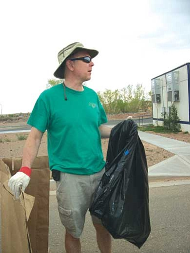 Tyler Tawahongva/NHO<br> Dr. Magee was just one of many Tuba City Regional Health Care Corporation (TCRHCC) employees who were out and about on Saturday, April 23 to clean up trash on the day after Earth Day. This clean-up day has been taking place for 10 years.