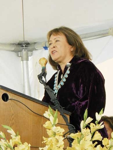 Dr. Lori Arviso-Alvord speaks during the grand opening ceremony.