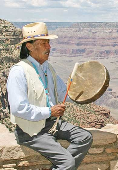James Peshlakai performs along Grand Canyon's South Rim.