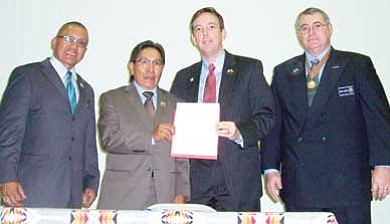 Rosanda Suetopka Thayer/NHO<br> A ceremony recognizing the contributions of the Hopi Code Talkers culminated with signing of SCR 1009. Participating were (l-r): Sen. Jack Jackson (D-Window Rock), Hopi Vice Chairman Herman Honanie, Arizona Secretary of State Ken Bennett and John Dudas, northern regional manager for Veterans Services Division of the Arizona Department of Veterans' Services. The resolution, which passed unanimously, formally acknowledges and honors the 10 Hopi Code Talkers' contributions to the United States and the state of Arizona. The resolution also encourages schools to teach about the contributions of the Hopi and other Native American code talkers.