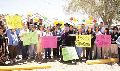 Submitted Photo<br> Vice President Rex Lee Jim and First Lady Martha Shelly gather with community members to rally against the use of tobacco.