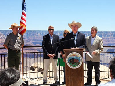 Ryan Williams/WGCN<br> U.S. Secretary of the Interior Ken Salazar announces his decision to extend the moratorium on new mining claims on 1,000,000 acres near Grand Canyon June 20 at Mather Point in Grand Canyon National Park.
