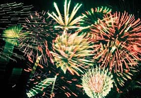 Todd Roth/NHO<br> A small part of the fireworks display at the Winslow High School stadium in 2010. Area residents believe 2011 will be just as good.