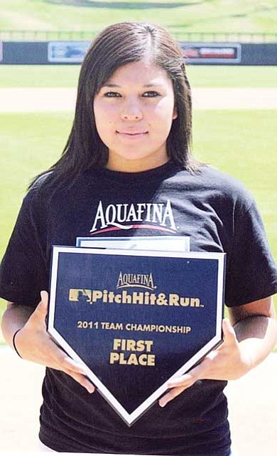 Submitted photo<br> Richelyn Villanueva was ready to compete in the Major League Baseball (MLB) Pitch, Hit and Run National Finals on July 11 at Chase Field before the MLB Home Run Derby.