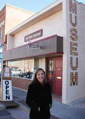 Submitted photo<br> Ann-Mary Lutzick stands in front of the Old Trails Museum in Winslow.