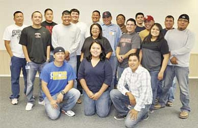 Submitted photo<br> Graduates of the Power Plant Fundamentals School (from front to back, left to right) the are Josh Redhair, Valene Hatathlie, Martin Sanders, Mitchell Emerson, Tyrel Richardson, Shannan Charlie, Luke Webb, Sheena Howard Lemar McCabe, Al Acothley, Christopher Chischilly, Sean Tee, Robin Nelson, Ricardo Cling, David Baker, James Nez, Anthony L. Begay and Bronson Leo.