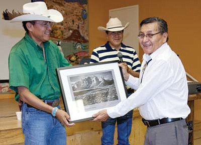 Submitted Photo<br> From left to right San Juan Country Commissioner Kenneth Maryboy, and Navajo Nation President Ben Shelly are celebrating the books release