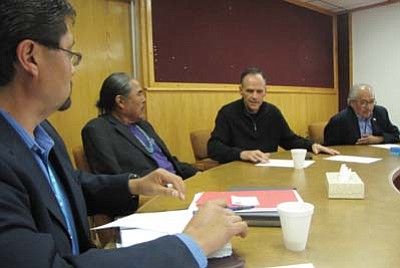 Submitted photo<br> Left to Right: NNHRC Executive Director Leonard Gorman, NNHRC Chairperson Duane H. Yazzie, Farmington Mayor Tommy Roberts, CRC Chairperson David John discuss a hate crime incident on May 13