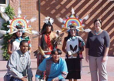 Rosanda Suetopka Thayer/NHO<br> Hopi dancers take a moment to pose with Flagstaff Mayor Sara Pressler (far right) last year at the first Hopi Economic Development Corporations' Art Market, which is slated to become an annual event.