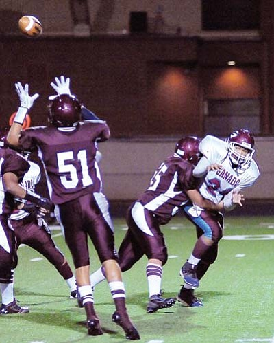 Todd Roth/NHO<br> Tight end Brennen James makes a crucial interception that led to the crushing loss