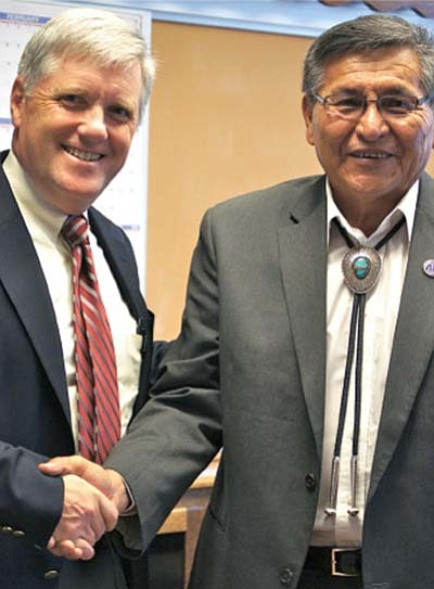 Submitted photo<br> Navajo President Shelly met with Department of Interior Deputy Assistand David Hayes to discuss the crucial issue of water rights.