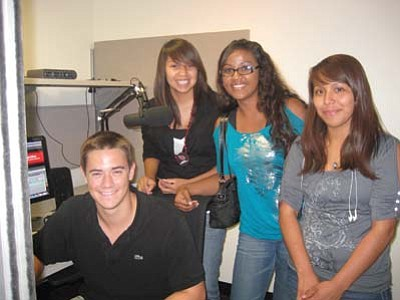 "Stan Bindell/NHO<br> ASU radio student with Hopi High radio students Shano Mike, Christina ""La T"" Rucker and Otivia ""Big O"" Puhuhefvaya."