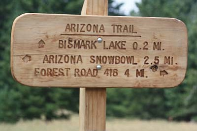 Stan Bindell/NHO<br> A sign at the beginning of the trial shows hikers their options, and what they are in for. Either way hikers are on the Arizona Trail