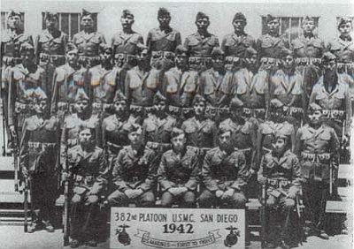Submitted photo<br> The original 29 Code Talkers pose for a photo in 1942. These 29 men were sent by train to boot camp at Fort Elliot in California where they became the 382nd Platoon, USMC.