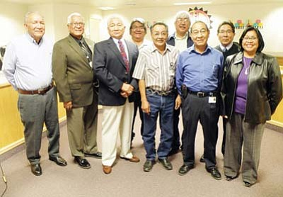 Submitted photo<br> Pictured from left are Davis Pecusa, Wayne Kuwanhyoima, Bruce Fredericks, Cedric Kuwanivaya, Danny Humetewa, Everett Calnimptewa, Danny Honanie, Vice Chairman Herman Honanie and Nada Taluvumotewa.