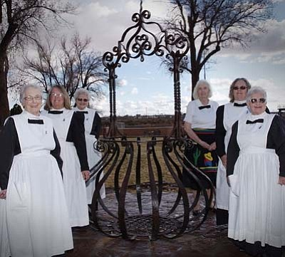 Todd Roth/NHO<br> Modern Day Winslow Harvey Girls pictured from left are Marie Lamar, Chris Pane, Lenore Robertson, Joan Haydukovich, Lynda Hallman and Janice Stewart. They welcomed the return of the wishing well to LaPosada.