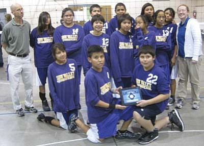 Submitted Photo<br> The 2011 SVIS Championship squad. Pictured from left, front row, are Miquela Honie, Jaron Greyeyes and Jeremiah Jones; center from left are Loke Embrey, Brianna Chee, Ashley Ross and Courtney Ross; and back from left are Coach Steve Lesko, Desirae Begay, Krisdale Spencer, Johnathan Jones, Shawn Maxson, Hailey Goodman, Tasha John and Coach Kelly Glisson.