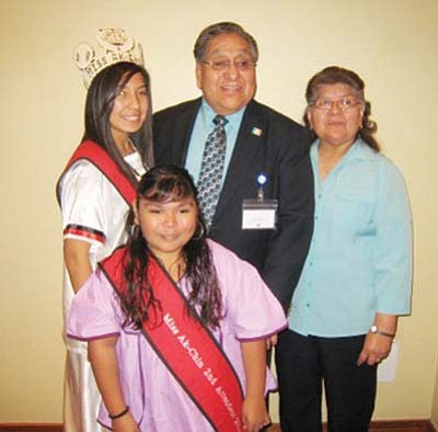 Submitted Photo<br> Gila River Royalty takes time to pose with Chairman LeRoy Shingoitewa and First Lady Mavis Shingoitewa.