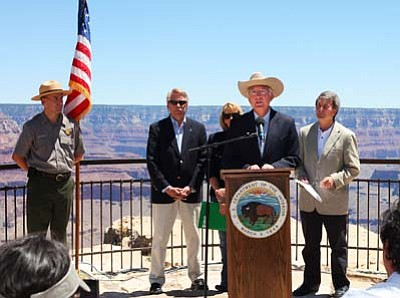 Ryan Williams/NHO<br> U.S. Secretary of the Interior Ken Salazar announces his decision to extend the moratorium on new mining claims on 1,000,000 acres near Grand Canyon June 20 at Mather Point in Grand Canyon National Park.