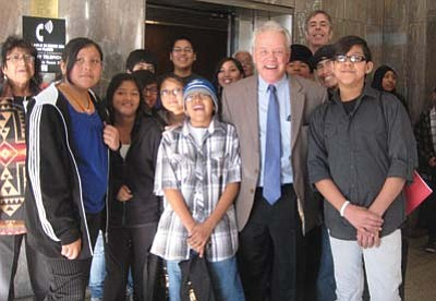 Stan Bindell/NHO<br> Students from Hopi Jr/Sr High School who went to the state capitol surround Arizona State Rep. Tom Chabin on Jan. 17.